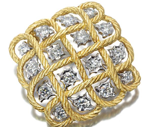 ジャンマリアブチェラッティ ブローチ兼ペンダントトップ ダイヤモンド 1.28ct K18YG/WG