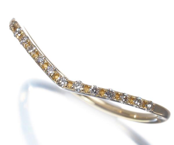 アガット リング ダイヤモンド カーブ 9号 K18YG