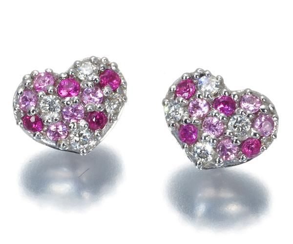 ポンテヴェキオ ピアス ピンクサファイア 0.22ct ダイヤモンド 0.09ct ハート K18WG