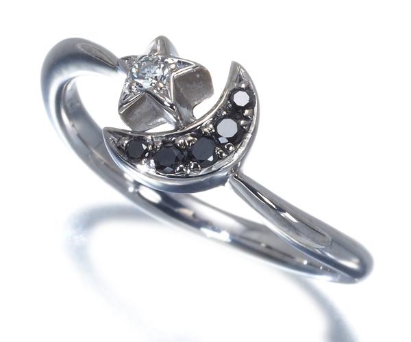 ポンテヴェキオ リング ブラック&クリアダイヤモンド ムーン スター K18WG