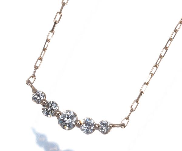 4℃ ヨンドシー ネックレス 5P ダイヤモンド K18PG
