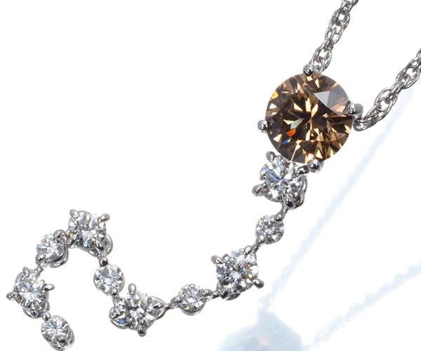カシケイ ネックレス ブラウン&クリアダイヤモンド 1.209ct/0.70ct Pt900/Pt850