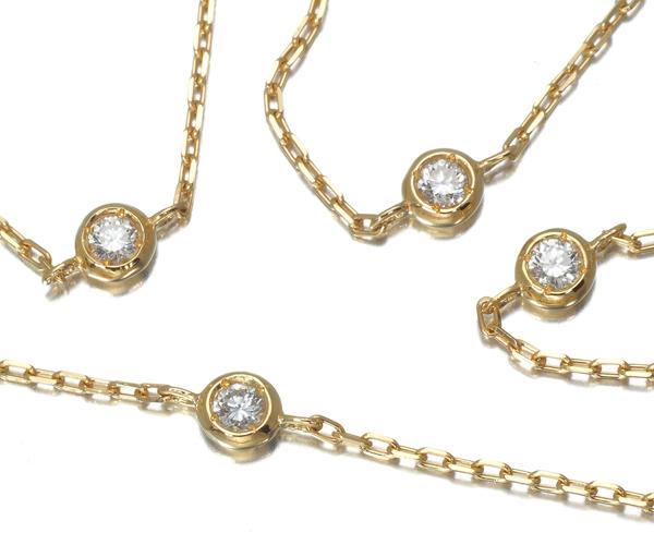 ヴァンドーム ネックレス ダイヤモンド 0.30ct 9P ステーション ロング K18YG