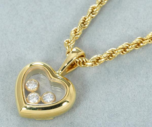 ショパール ネックレス ハッピーダイヤモンド 3P ハート K18YG