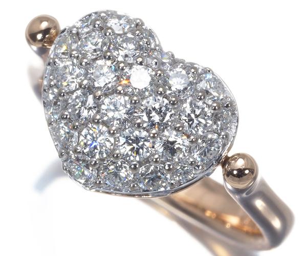 ポンテヴェキオ リング ダイヤモンド 0.91ct ハート リバーシブル 2WAY 9号 K18PG/WG
