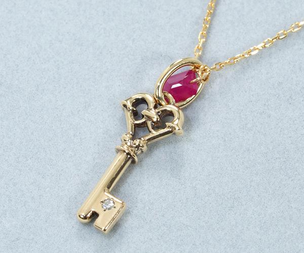 アガット ネックレス ルビー ダイヤモンド 0.01ct キー K10YG