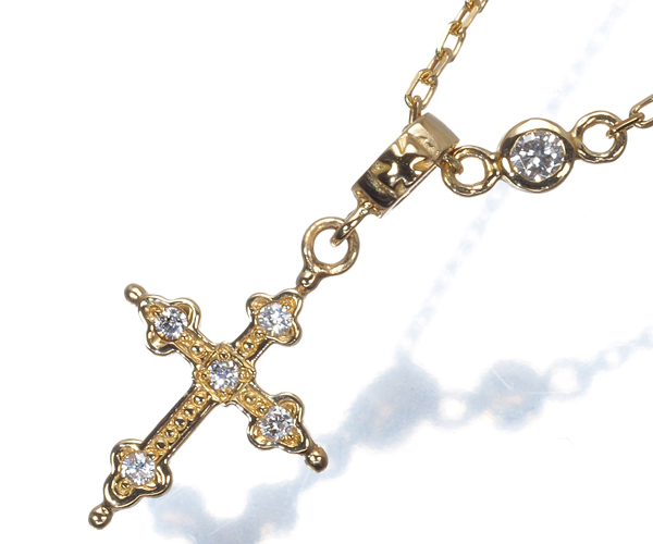 ローリーロドキン ネックレス ダイヤモンド クロス K18YG