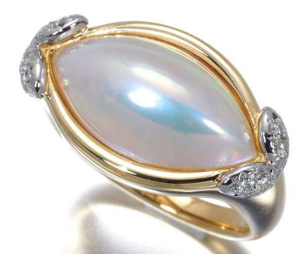 TASAKI タサキ リング マベ真珠 パール ダイヤモンド 0.09ct K18YG/Pt900