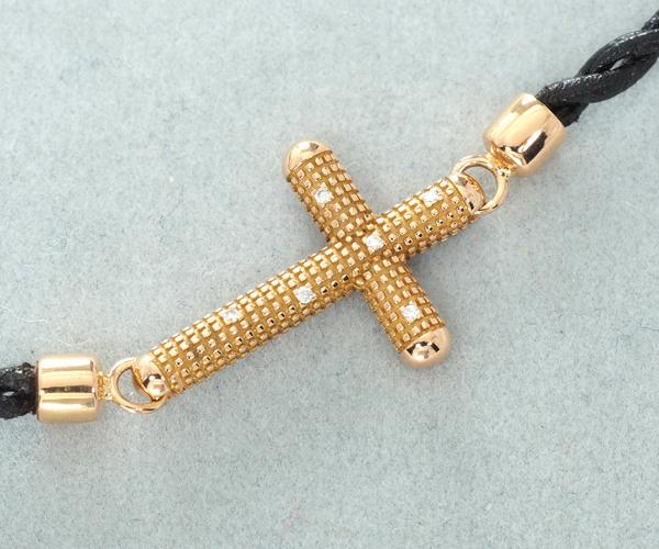 ダミアーニ ブレスレット ダイヤモンド メトロポリタンドリーム クロス K18PG/レザー