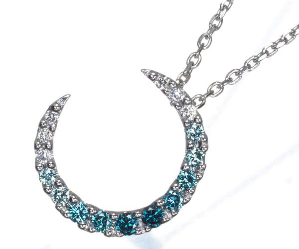 スタージュエリー ネックレス ブルー&クリアダイヤモンド 0.10ct ムーン K18WG