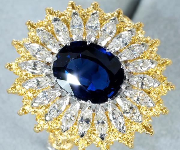 ブチェラッティ リング サファイア 2.071ct ダイヤモンド 13号 K18YG/WG