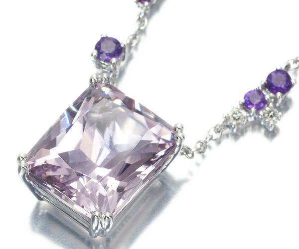 モーブッサン ネックレス モルガナイト ダイヤモンド アメジスト K18WG