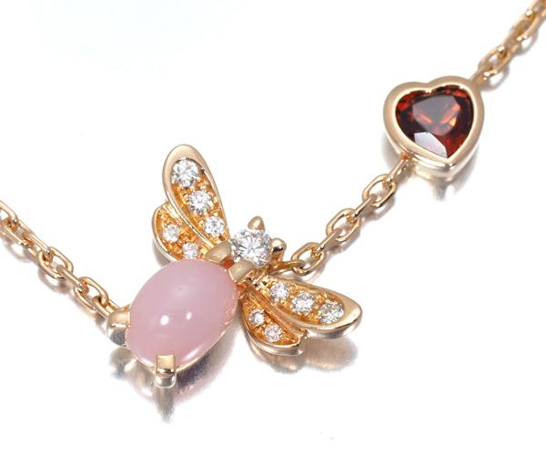ショーメ ブレスレット ピンクオパール ダイヤモンド ガーネット アトラップモア K18PG