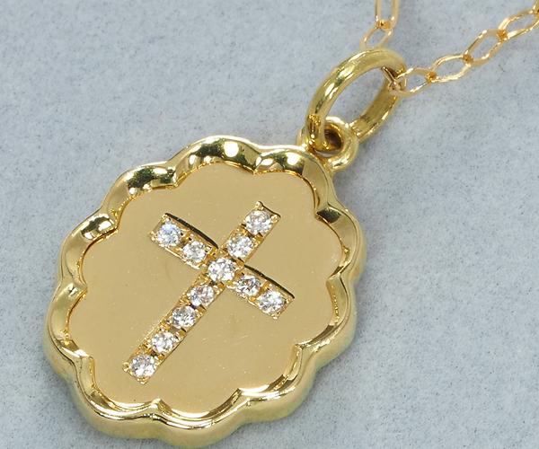 アーカー ネックレス ダイヤモンド ブランマリア クロス K18YG