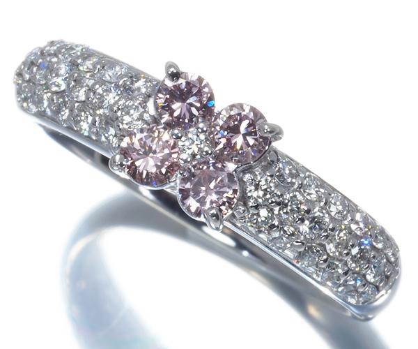 ポンテヴェキオ リング ピンク&クリアダイヤモンド 0.26ct/0.40ct フラワー パヴェ K18WG