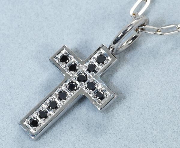 SJX ネックレス ブラックダイヤ ダイヤモンド 0.12ct クロス K18WG