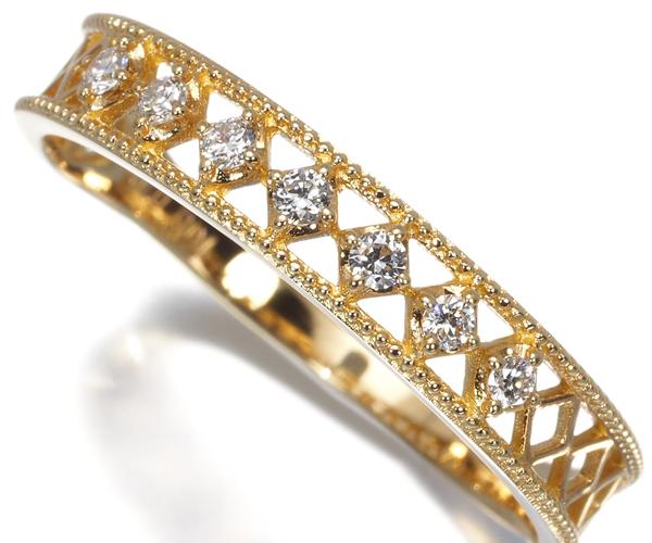 ヴァンドーム リング ダイヤモンド 0.10ct ミルグレイン 15号 K18YG