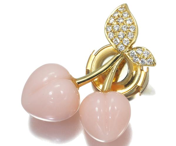 ポンテヴェキオ ブローチ ピンクオパール ダイヤモンド 0.15ct チェリー K18YG