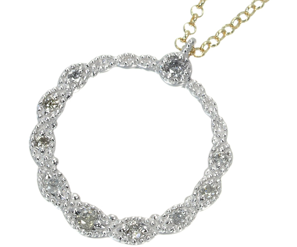 アガット ネックレス ダイヤモンド 0.06ct ミルグレイン サークル K14YG/K18WG
