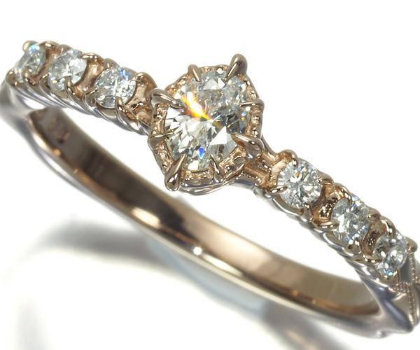 アガット リング ダイヤモンド 0.17ct/0.12ct オーバルカット 7号 K18BG