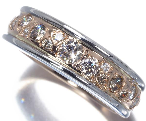 カシケイ リング ダイヤモンド 0.50ct メランジェ 9号 K18PG/WG