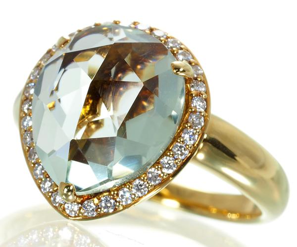 ポンテヴェキオ リング アクアマリン 3.84ct ダイヤモンド 0.17ct K18YG