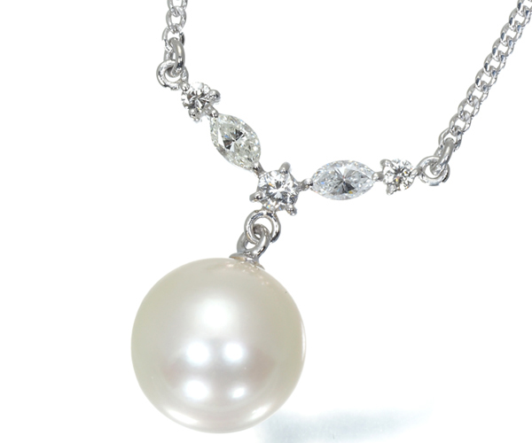 TASAKI タサキ ネックレス 白蝶真珠 パール 10.2mm珠 ダイヤモンド 0.31ct Pt850