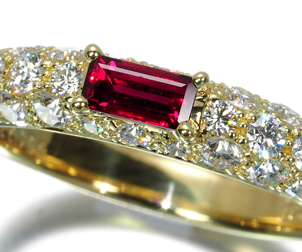 ギメル リング 極上ルビー 0.289ct ダイヤモンド 0.792ct パヴェ 11号 K18YG