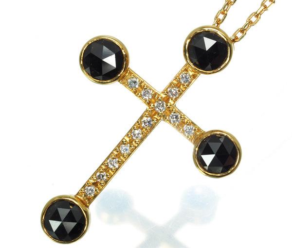 SJX ネックレス ブラック&クリアダイヤ ダイヤモンド ローズカット クロス K18YG