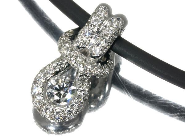 フォーエバーマーク ネックレス ダイヤ 0.16ct 0.28ct シルバー925/PVCラバー/K18WG