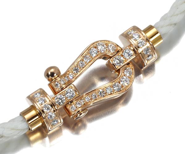 フレッド ブレスレット ダイヤモンド フォース10 MM テキスタイルケーブル ホワイト 15刻印 K18PG/SS