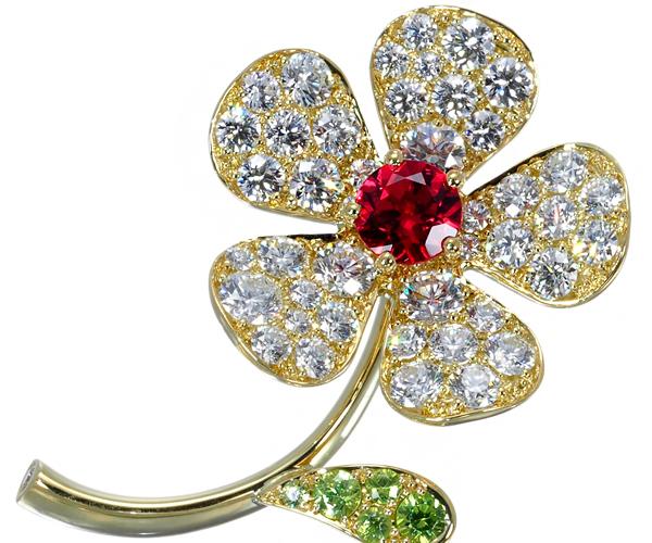 ギメル ブローチ スピネル 0.198ct ダイヤモンド 0.694ct ガーネット 0.069ct K18YG