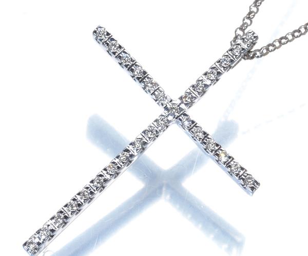 ヴァンドーム ネックレス ダイヤモンド 0.15ct クロス K18WG