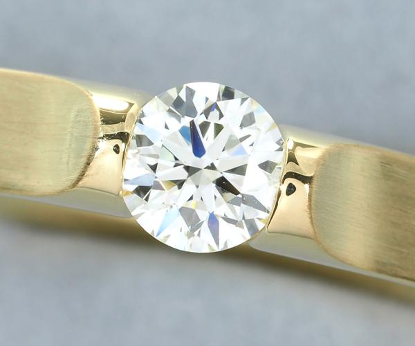 ニーシング リング ダイヤモンド 0.51ct N VVS1 3EX テンションセッティング K18YG