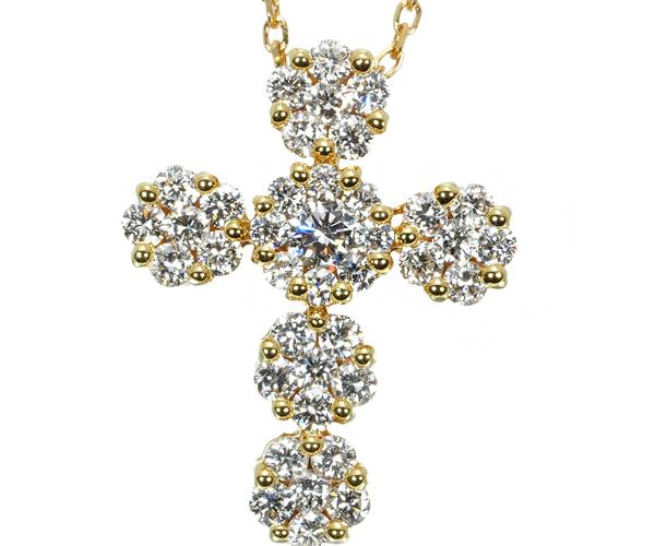 ポンテヴェキオ ネックレス ダイヤモンド 0.45ct フラワークロス K18YG
