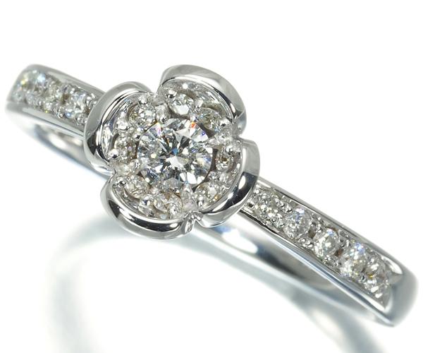 4℃ ヨンドシー リング ダイヤモンド フラワー 8号 K18WG
