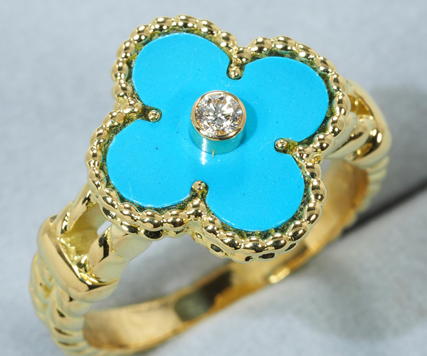 ヴァンクリーフ&アーペル リング ターコイズ ダイヤモンド ヴィンテージアルハンブラ 15号 K18YG