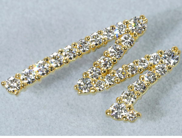 ギメル ピンブローチ ダイヤモンド 0.482ct イニシャル K18YG