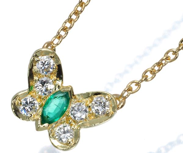 ヴァンクリーフ&アーペル ネックレス エメラルド ダイヤモンド パピヨン K18YG