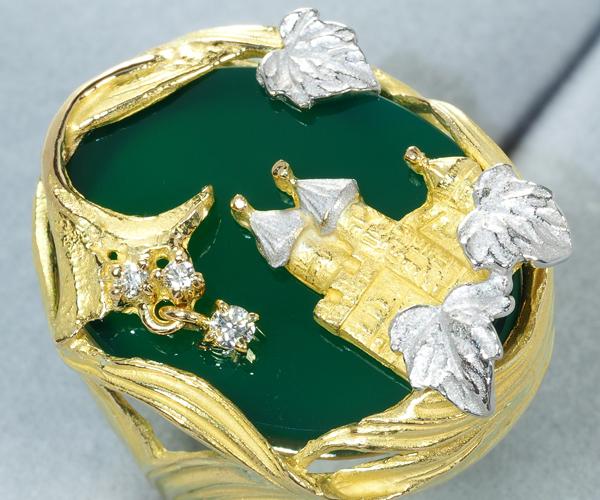 石川暢子 リング AsTime カルセドニー ダイヤモンド 11.5号 K18YG/Pt900