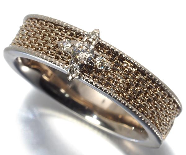 カシケイ リング ダイヤモンド 0.10ct ネイキッド 12号 K18BG