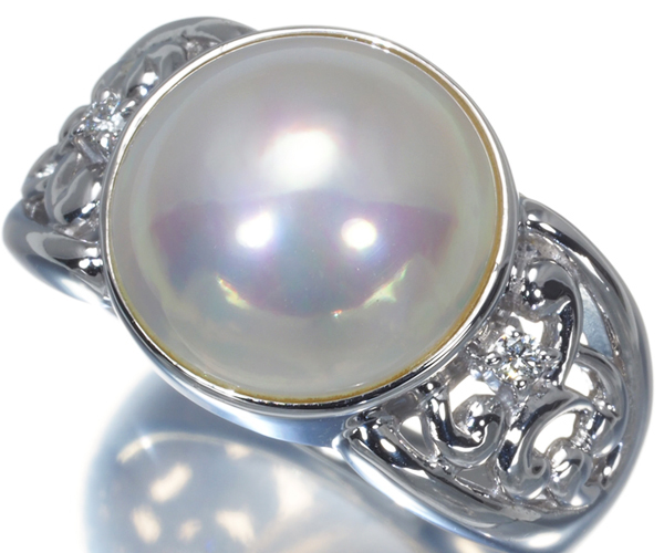 TASAKI タサキ リング マベ真珠 パール ダイヤモンド 0.03ct Pt900