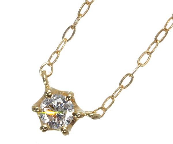 4℃ ヨンドシー ネックレス ダイヤモンド 一粒 K18YG