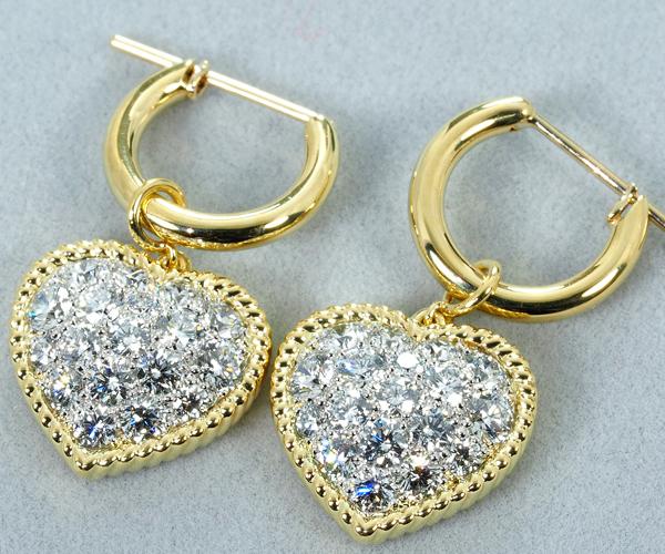 ギメル ピアス ダイヤモンド 0.850ct/0.855ct ハート 蜂 Pt950/K18YG
