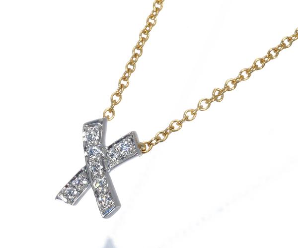 ティファニー ネックレス ダイヤモンド キス K18YG/WG