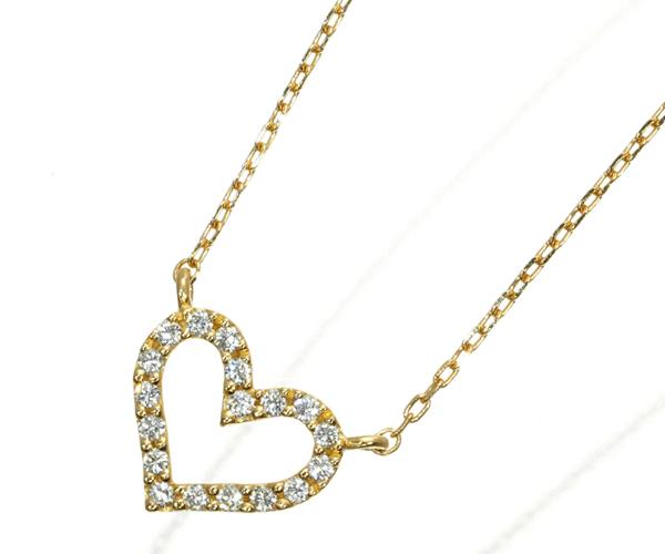 スタージュエリー ネックレス ダイヤモンド 0.06ct ハート K18YG