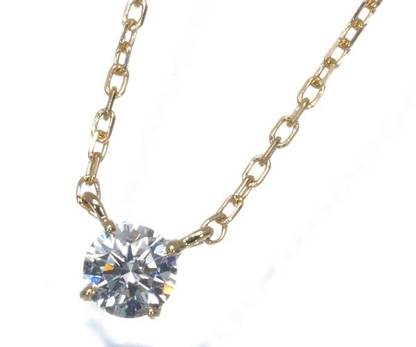 ヴァンドーム ネックレス 一粒 ダイヤモンド 0.135ct F VS2 EX K18YG
