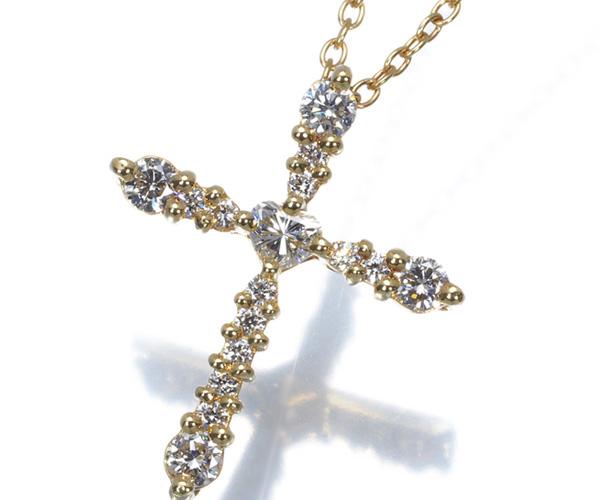 アーカー ネックレス ダイヤモンド 0.36ct クロス K18YG