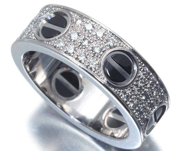 カルティエ リング ダイヤモンド ラブ フルパヴェ ブラック 52号 K18WG/セラミック