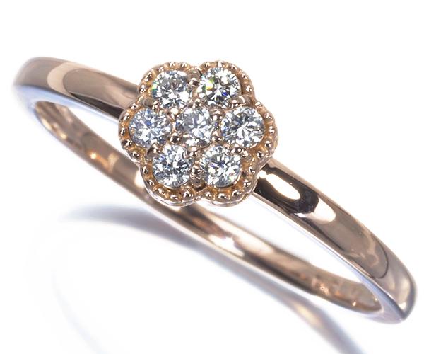 ヴァンドーム リング ダイヤモンド 0.12ct フラワー ミルグレイン 11号 K18PG